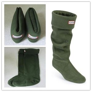 green Hunter boots fleece socks